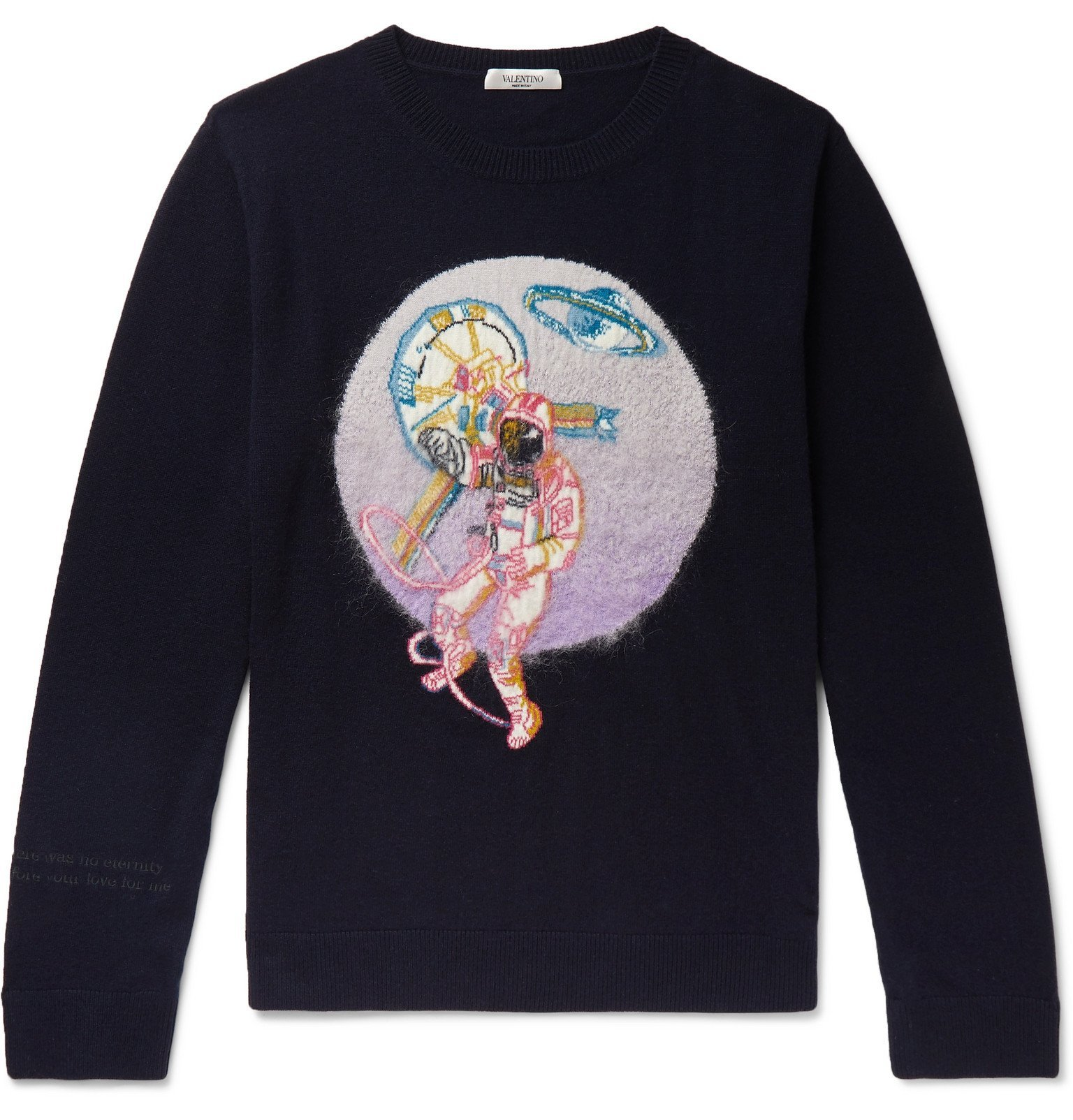 Photo: Valentino - Intarsia Virgin Wool and Cashmere-Blend Sweater - Blue