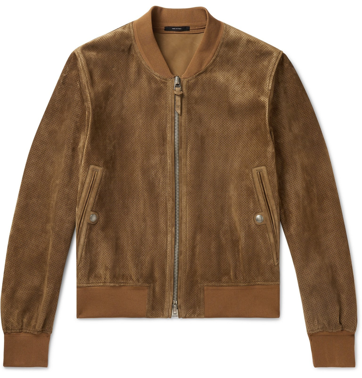 Photo: TOM FORD - Perforated Suede Bomber Jacket - Brown
