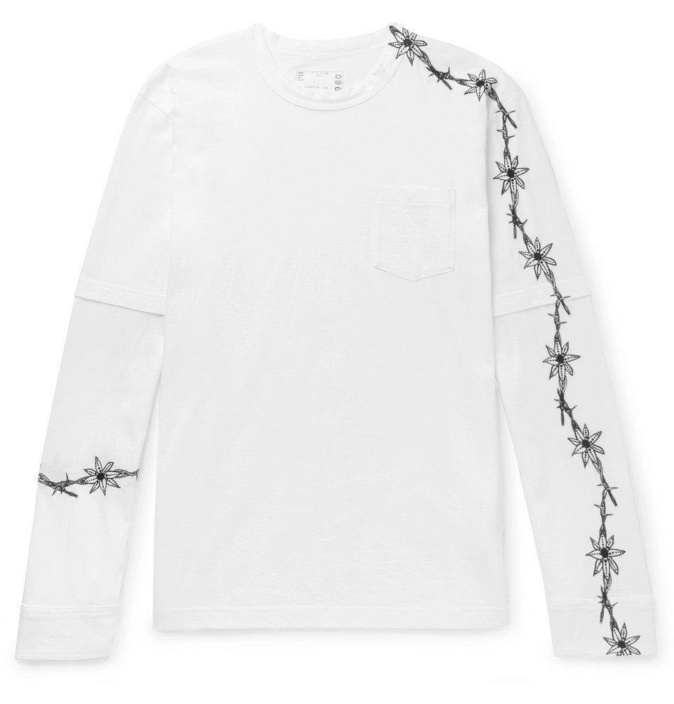 Photo: Sacai - Dr. Woo Embroidered Poplin-Panelled Cotton-Jersey T-Shirt - White