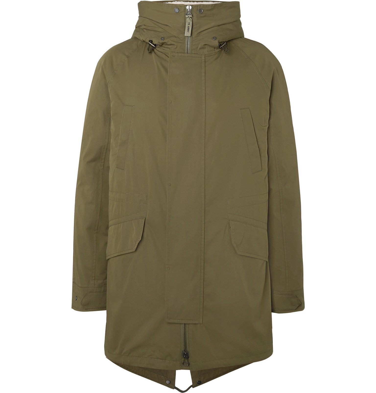 Photo: Yves Salomon - Faux Shearling-Lined Cotton-Blend Hooded Fishtail Parka - Green