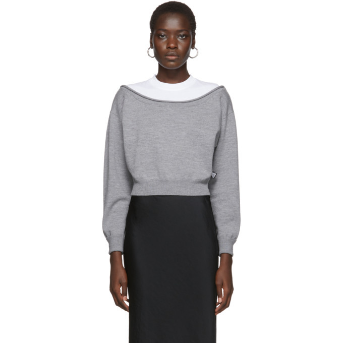 Photo: alexanderwang.t Grey Cropped Bi-Layer Sweater