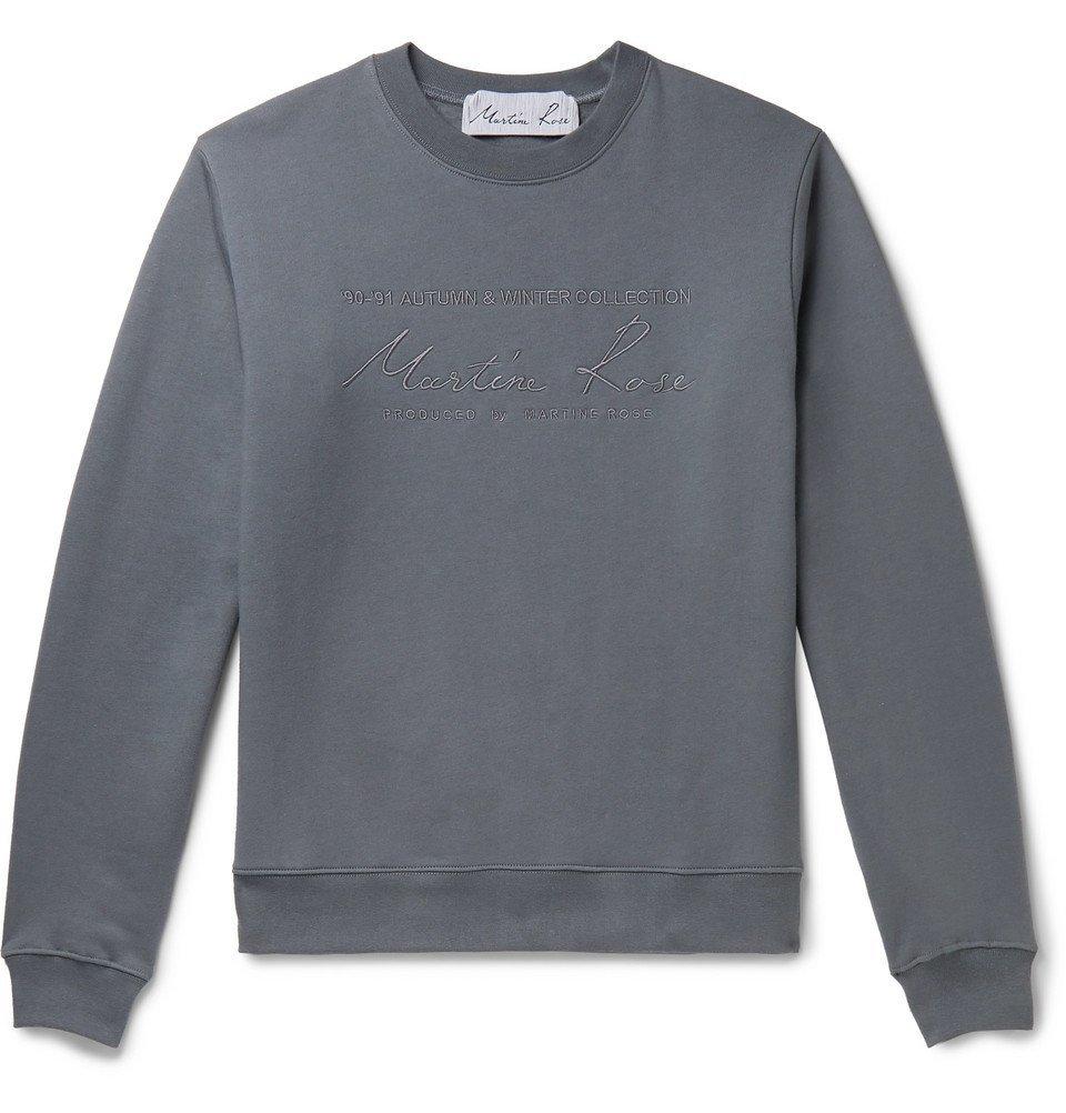 Martine Rose - Logo-Embroidered Fleece-Back Cotton-Jersey Sweatshirt - Gray