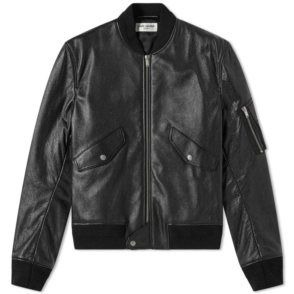 Photo: Saint Laurent Leather MA-1 Bomber Jacket