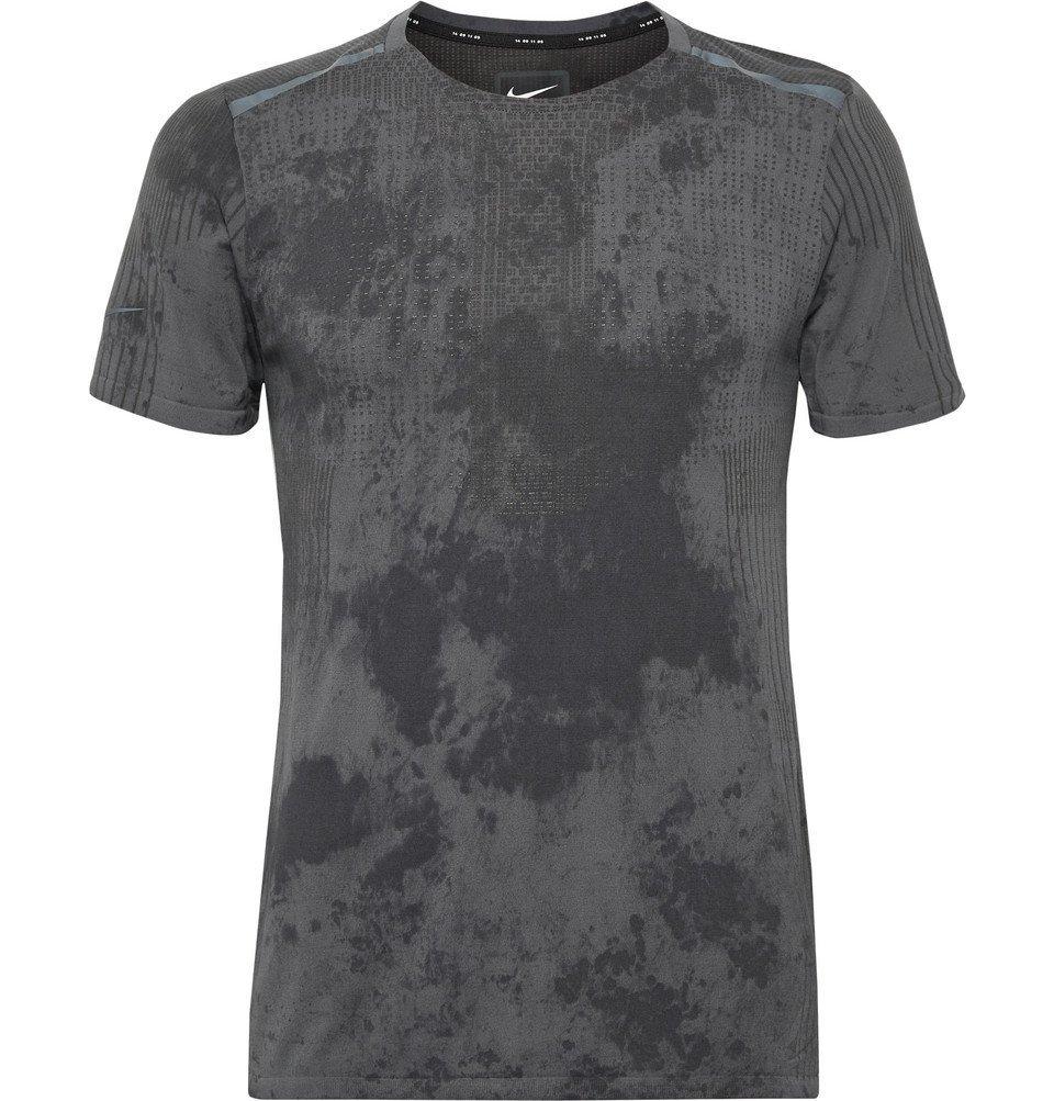 Nike Running - Tech Pack Printed Stretch-Mesh Running T-Shirt - Dark gray