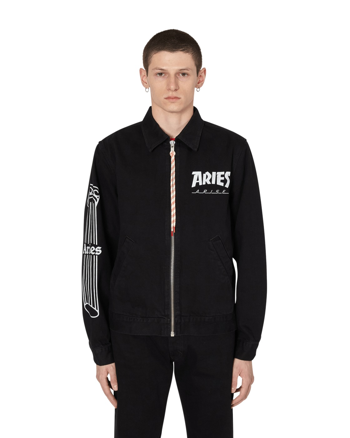 Aries Column Zip Through Jacket Black