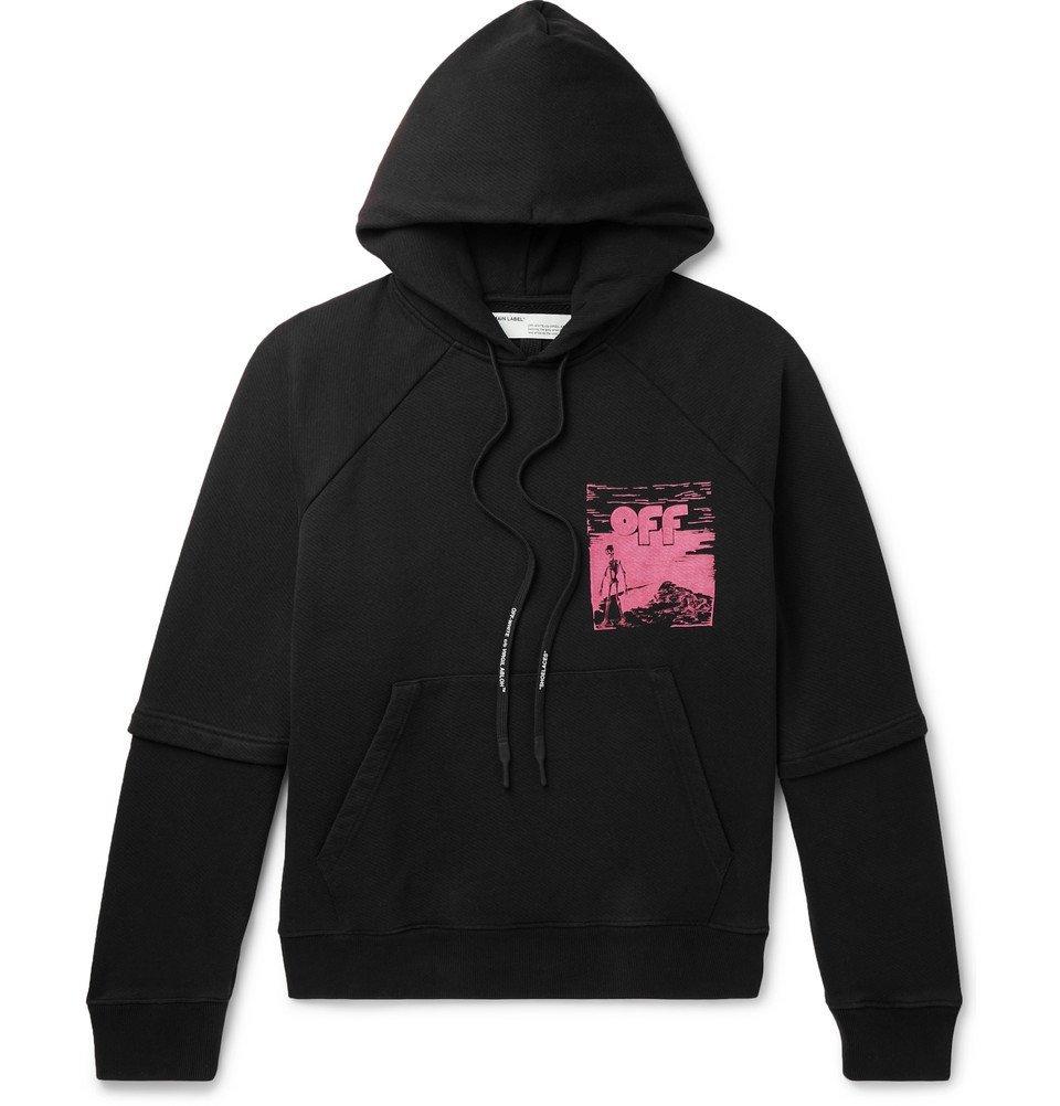 Photo: Off-White - Logo-Print Fleece-Back Cotton-Jersey Hoodie - Black