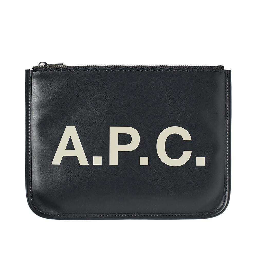 Photo: A.P.C. Morgan Logo Leather Pouch