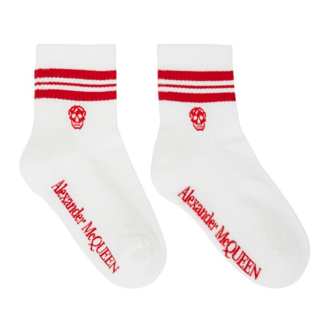 Photo: Alexander McQueen White and Red Stripe Skull Sport Short Socks