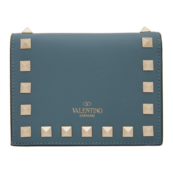 Photo: Valentino Blue Valentino Garavani Small Rockstud Wallet