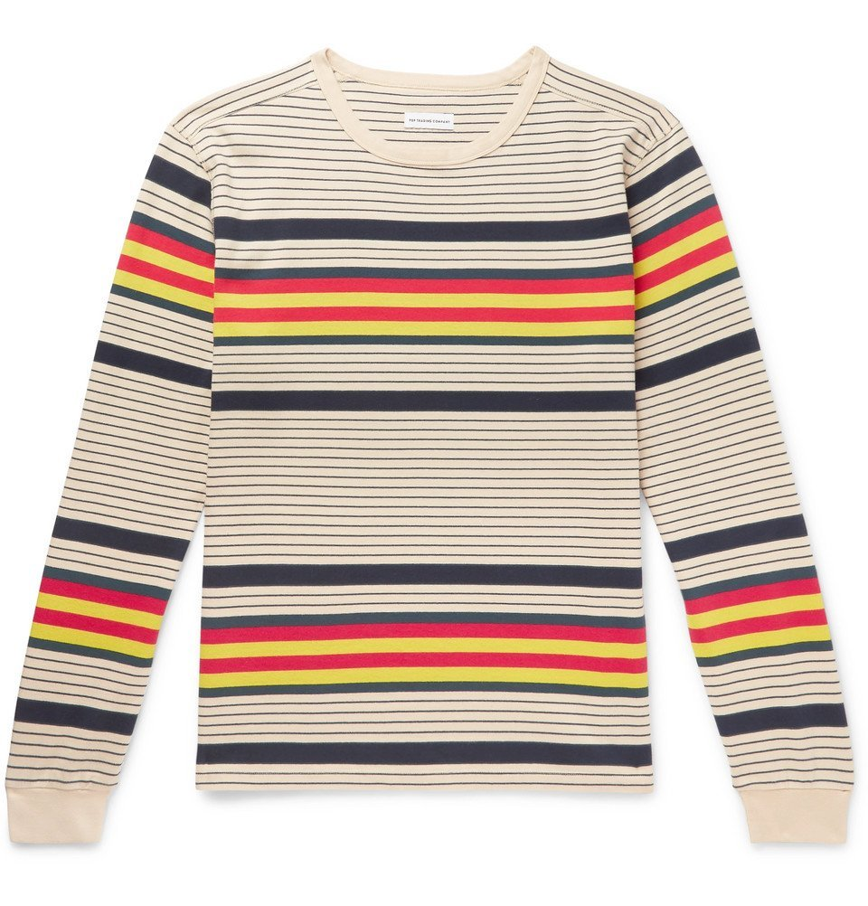 Photo: Pop Trading Company - Striped Cotton-Jersey T-Shirt - Neutral