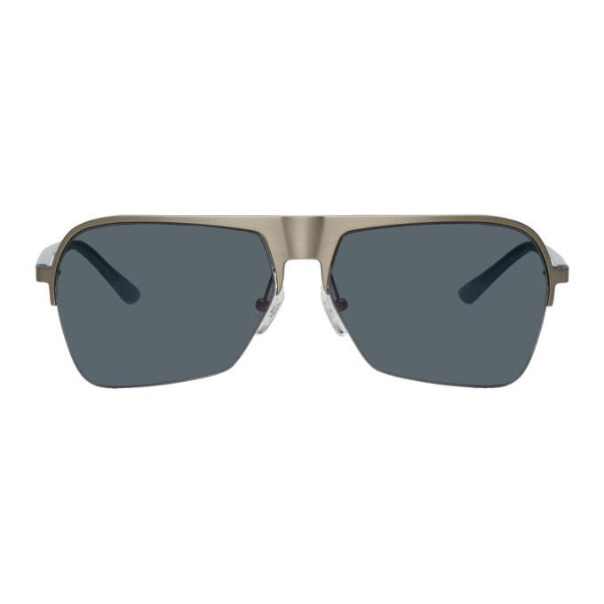 Photo: Dries Van Noten Silver and Blue Linda Farrow Edition 192 C3 Aviator Sunglasses