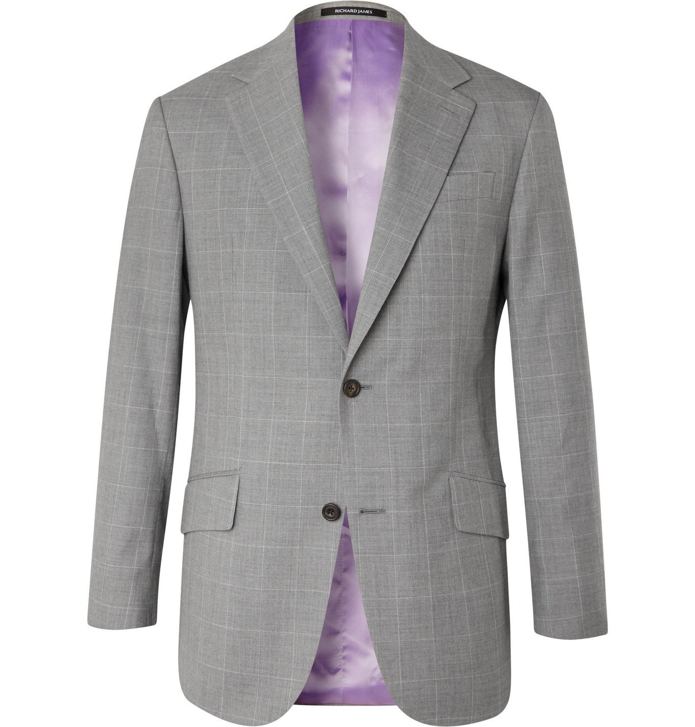 Photo: RICHARD JAMES - Checked Wool Suit Jacket - Gray