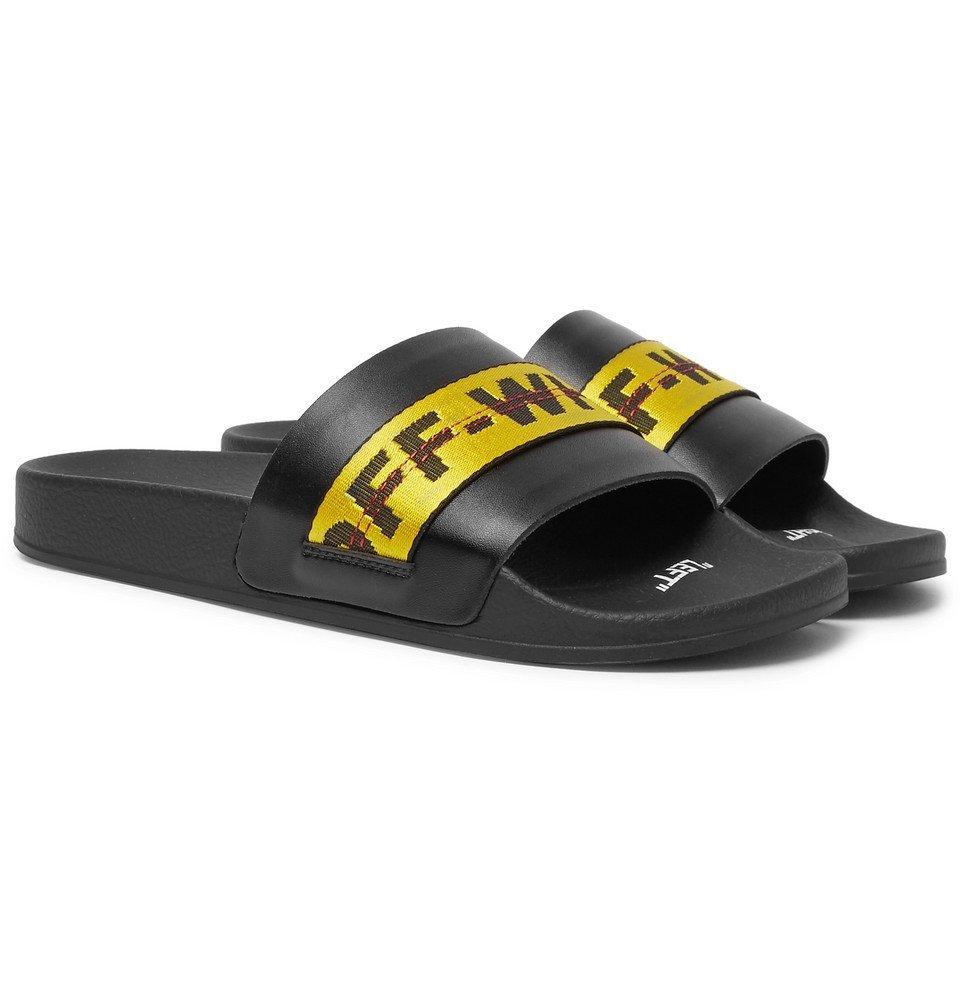 Photo: Off-White - Logo Webbing-Trimmed Leather Slides - Black
