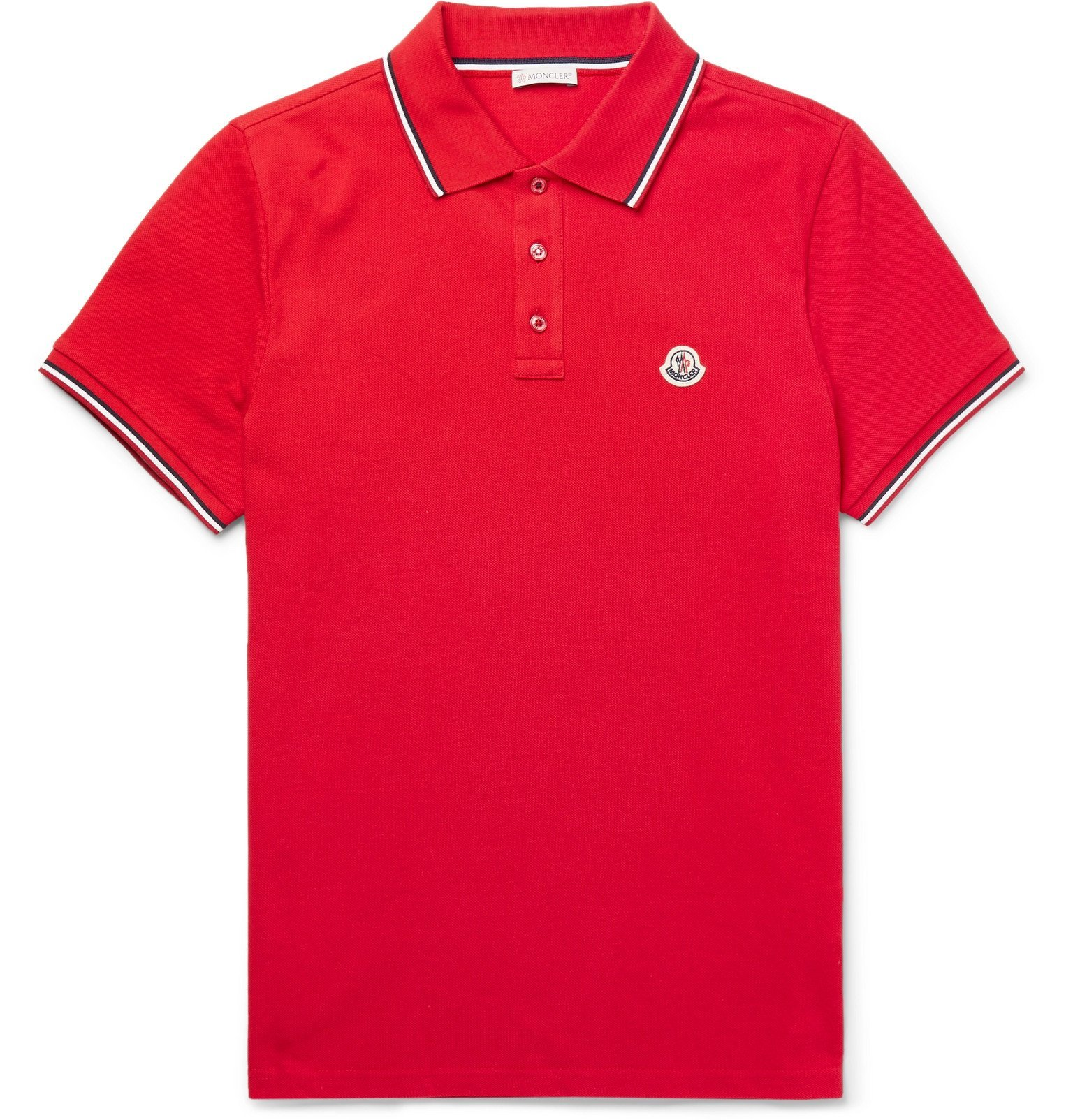 Photo: Moncler - Logo-Appliquéd Striped Cotton-Piqué Polo Shirt - Red