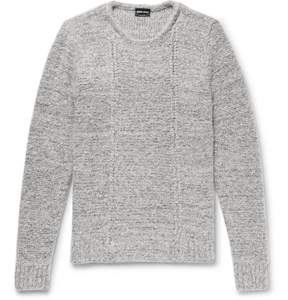 Giorgio Armani - Slim-Fit Mélange Wool-Blend Sweater - Men - Gray