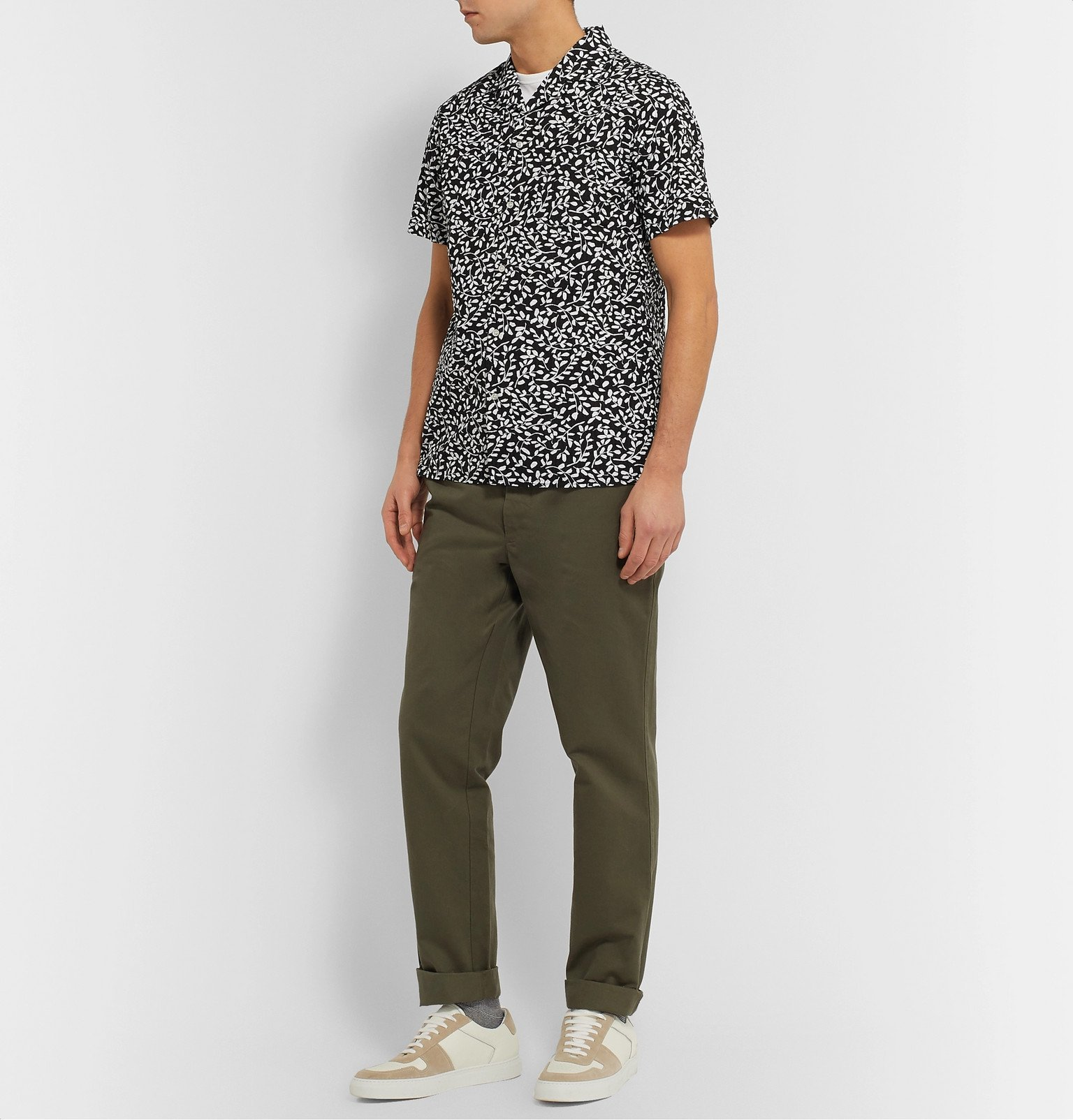 Officine Generale - Dario Slim-Fit Camp-Collar Printed Cotton-Seersucker Shirt - Black