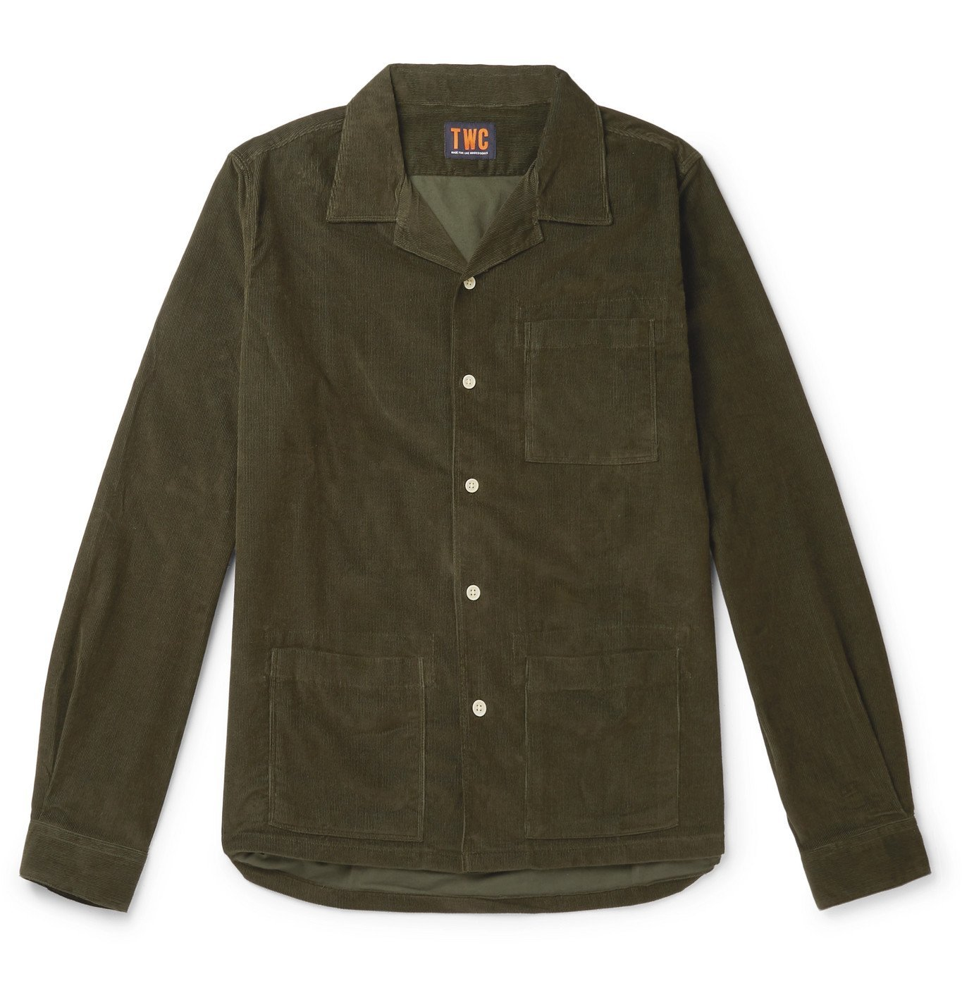 Photo: The Workers Club - Camp-Collar Garment-Dyed Cotton-Corduroy Overshirt - Green