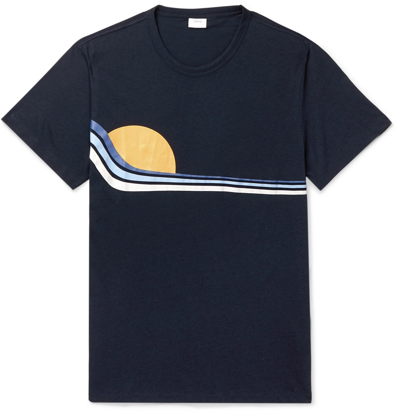 Photo: Onia - Johnny Printed Modal and Cotton-Blend Jersey T-Shirt - Blue