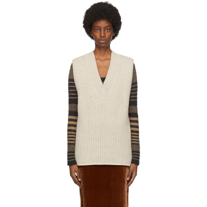 Photo: Acne Studios Beige Wool and Silk Vest