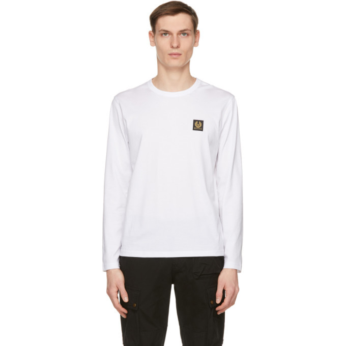 Photo: Belstaff White Logo Long Sleeve T-Shirt