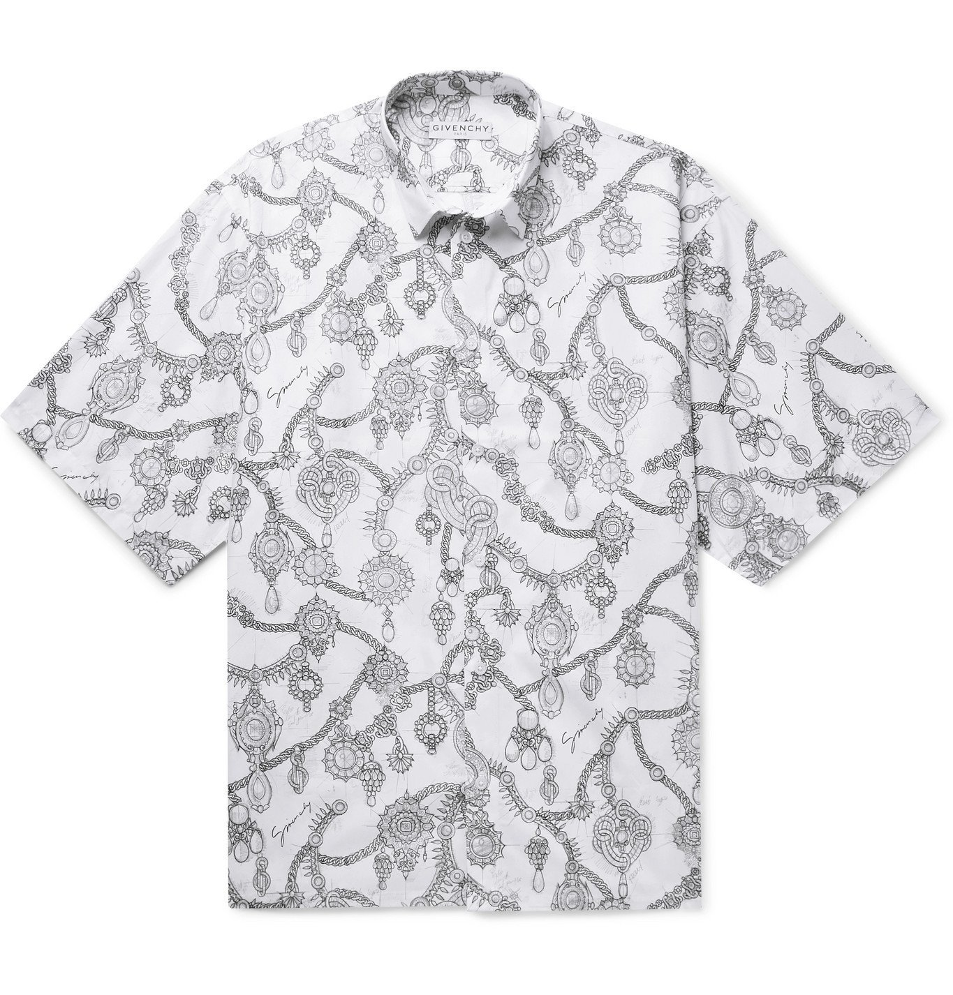 Photo: Givenchy - Printed Cotton-Poplin Shirt - White