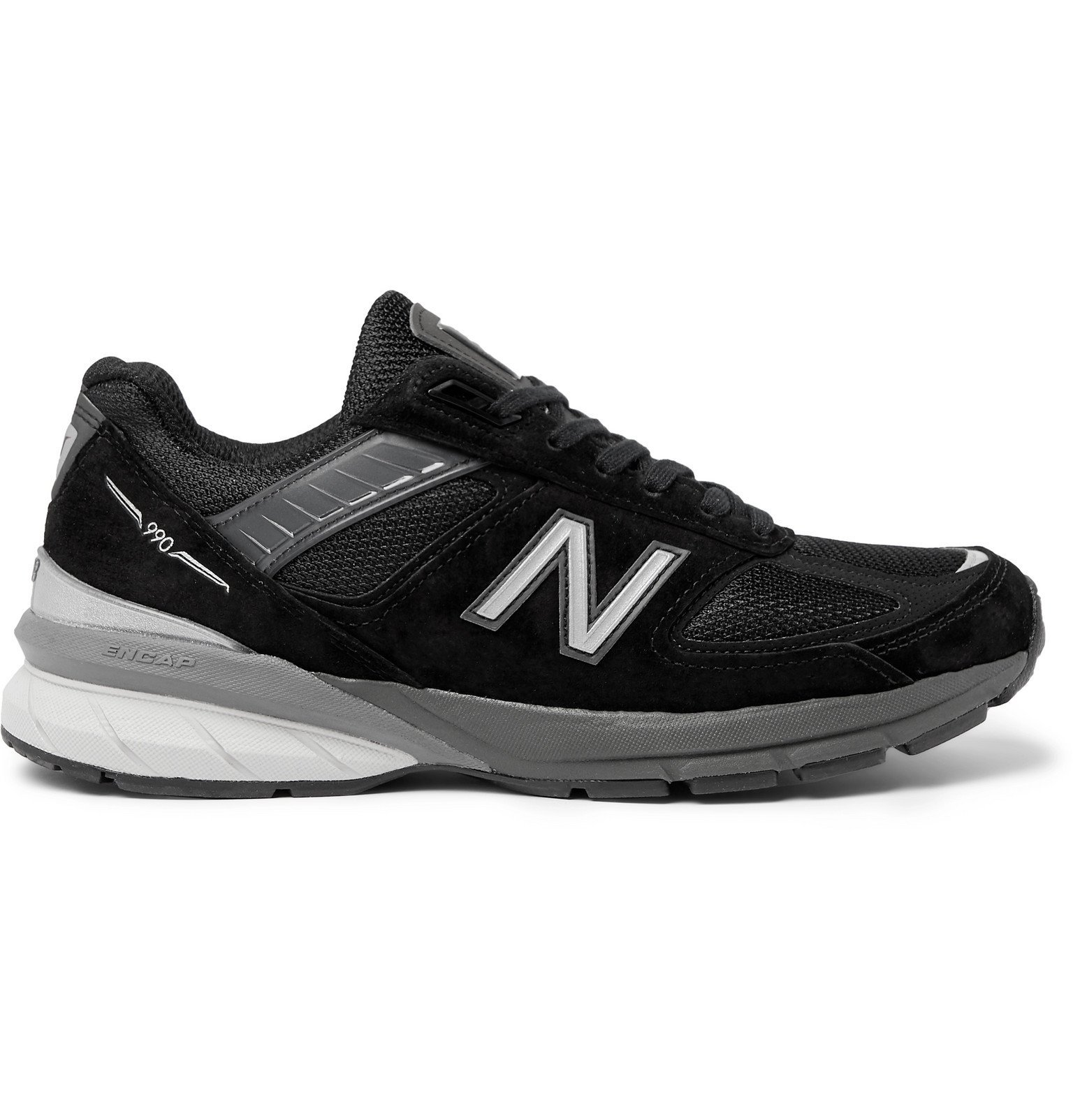 New Balance - M990V5 Suede and Mesh Sneakers - Black
