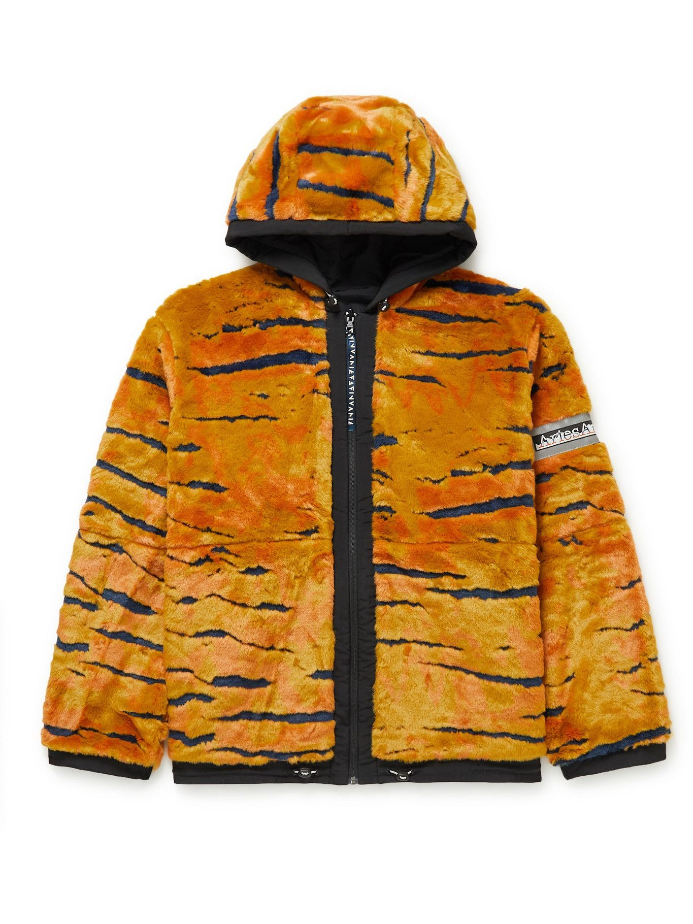Photo: Aries - Reversible Tiger-Print Faux Fur and Shell Hooded Jacket - Multi