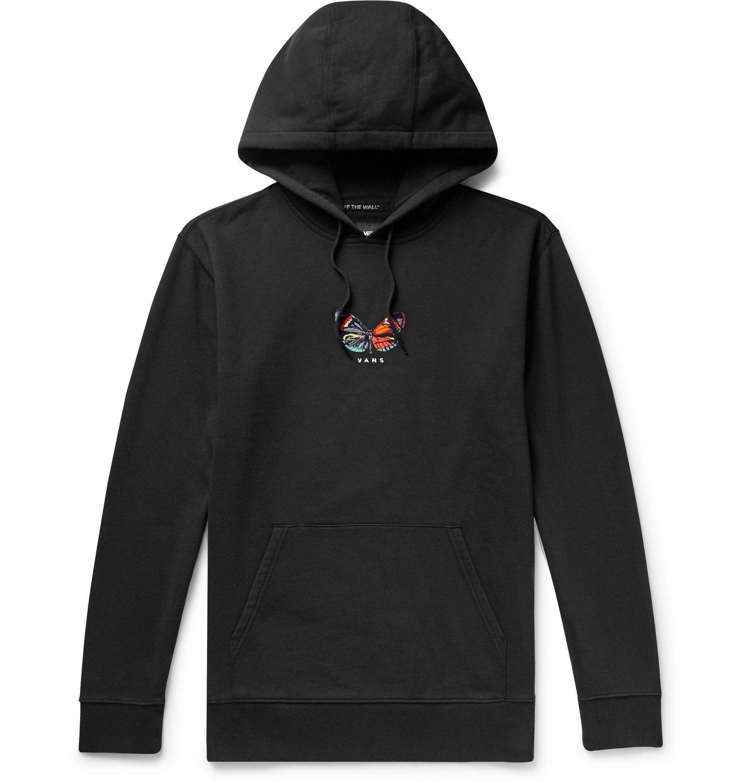 Photo: Vans - Metamorphosis Embroidered Fleece-Back Cotton-Blend Jersey Hoodie - Black