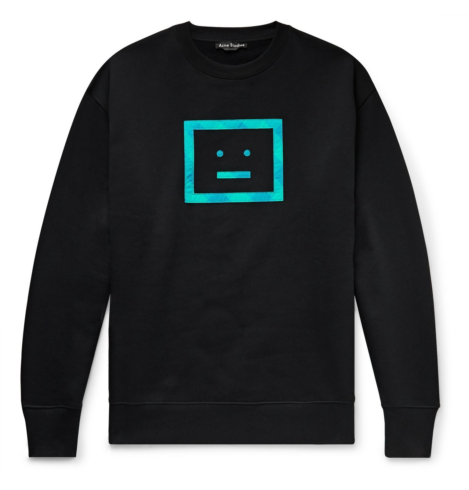 Photo: Acne Studios - Forba Logo-Appliquéd Fleece-Back Cotton-Jersey Sweatshirt - Black