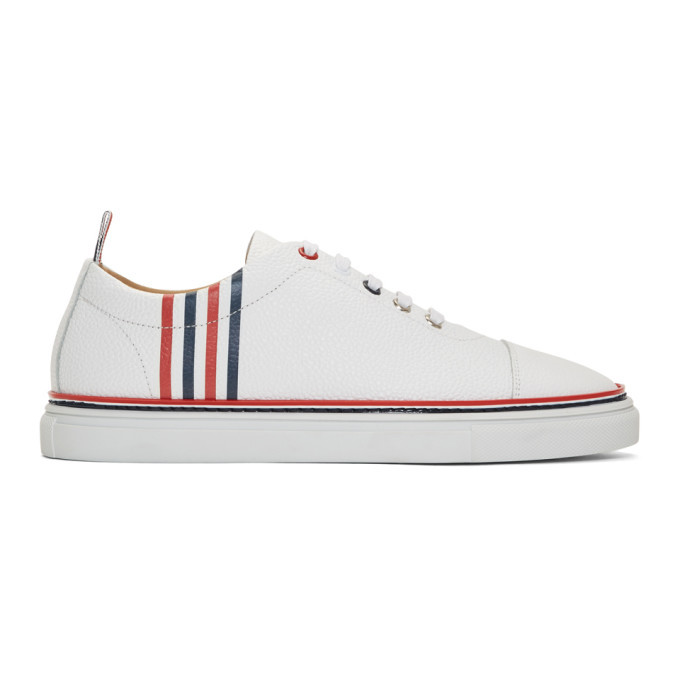 Photo: Thom Browne White Pebbled Leather 4-Bar Sneakers