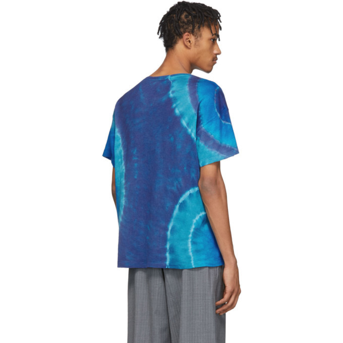 The Elder Statesman Blue Cashmere Tie-Dye T-Shirt
