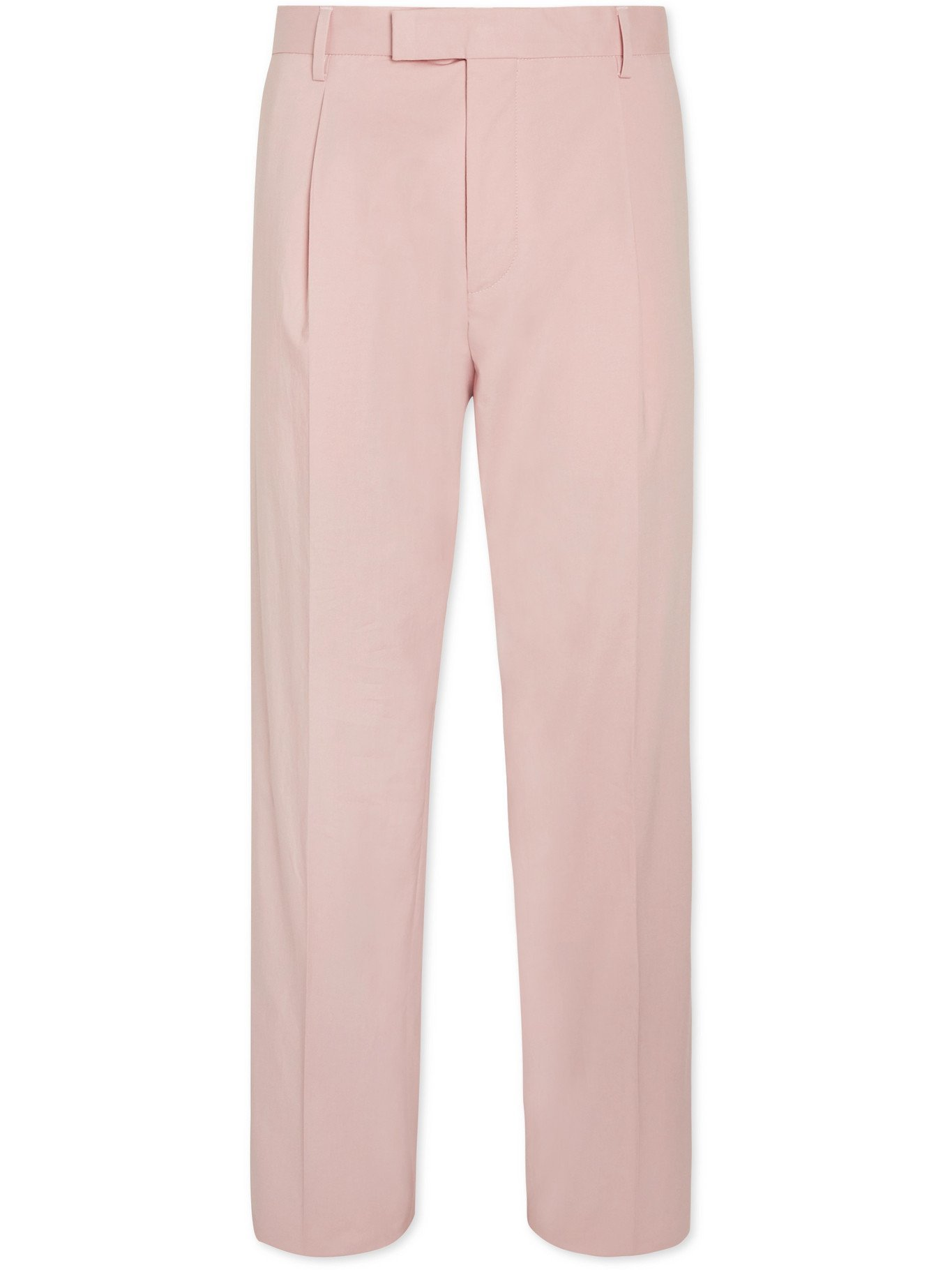 HUGO BOSS - Pris Pleated Stretch-Cotton Suit Trousers - Pink