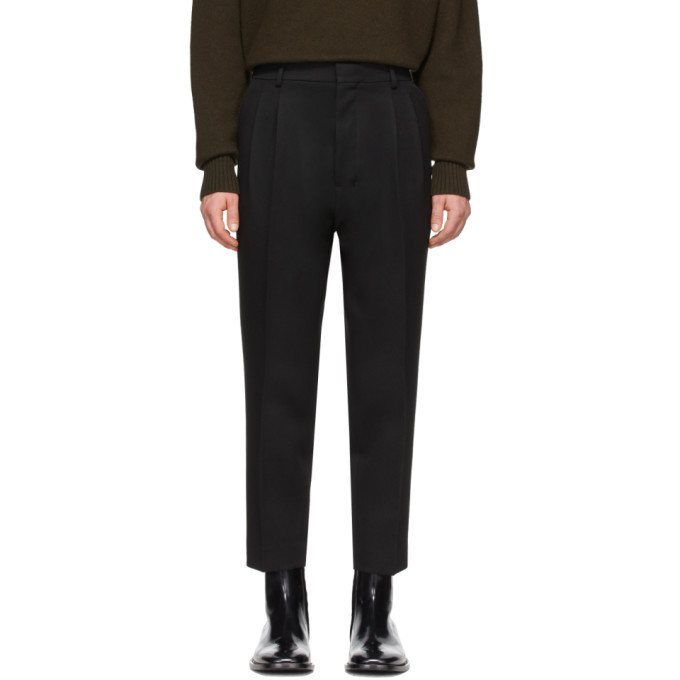 Photo: AMI Alexandre Mattiussi Black Wool Pleated Trousers