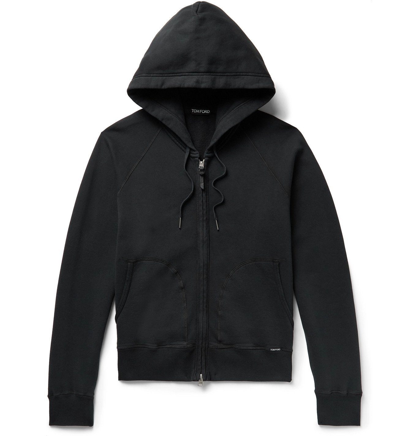Photo: TOM FORD - Garment-Dyed Fleece-Back Cotton-Jersey Zip-Up Hoodie - Black
