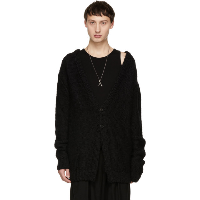 Photo: Ann Demeulemeester Black Hand Knit Moby Cardigan