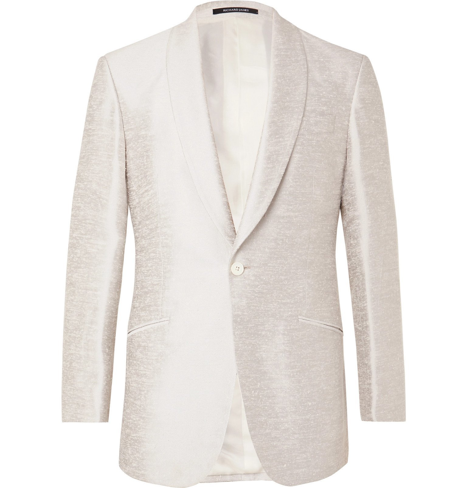 Photo: Richard James - Ivory Slim-Fit Shawl-Collar Silk-Shantung Tuxedo Jacket - Neutrals