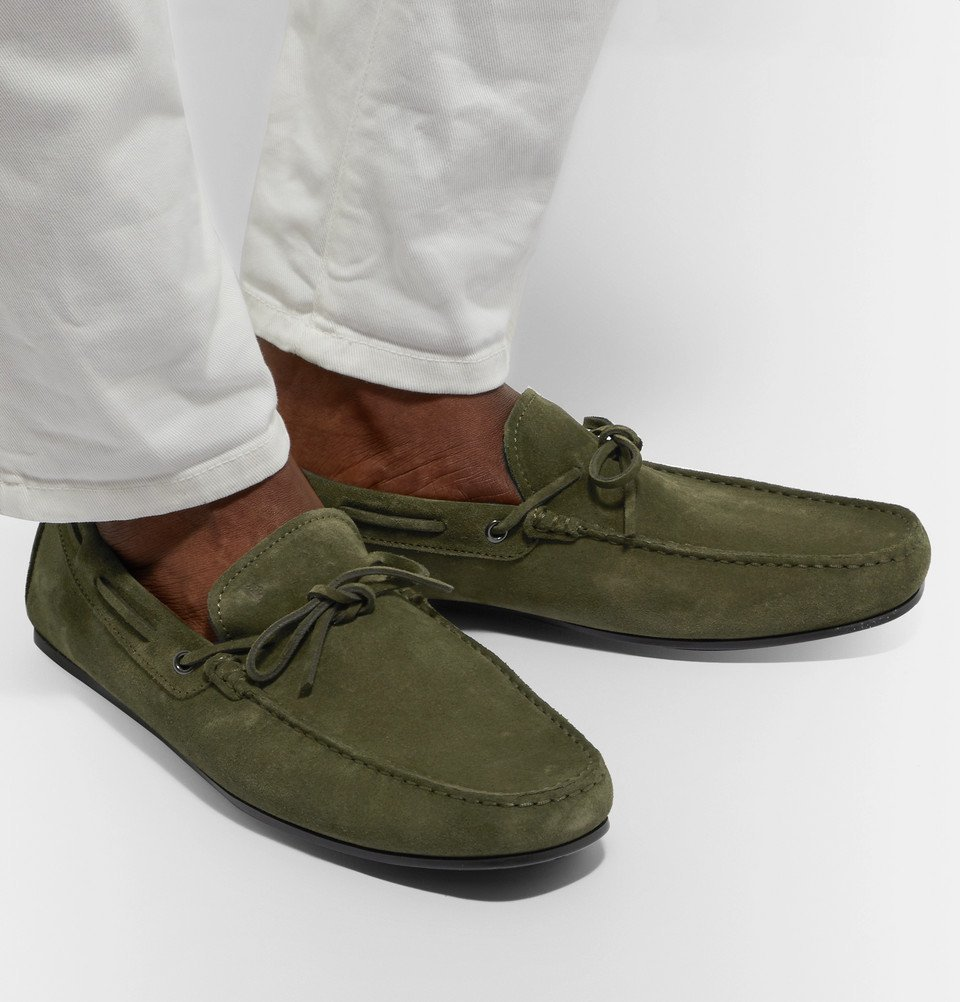 Tod's - Gommino Suede Driving Shoes - Army green