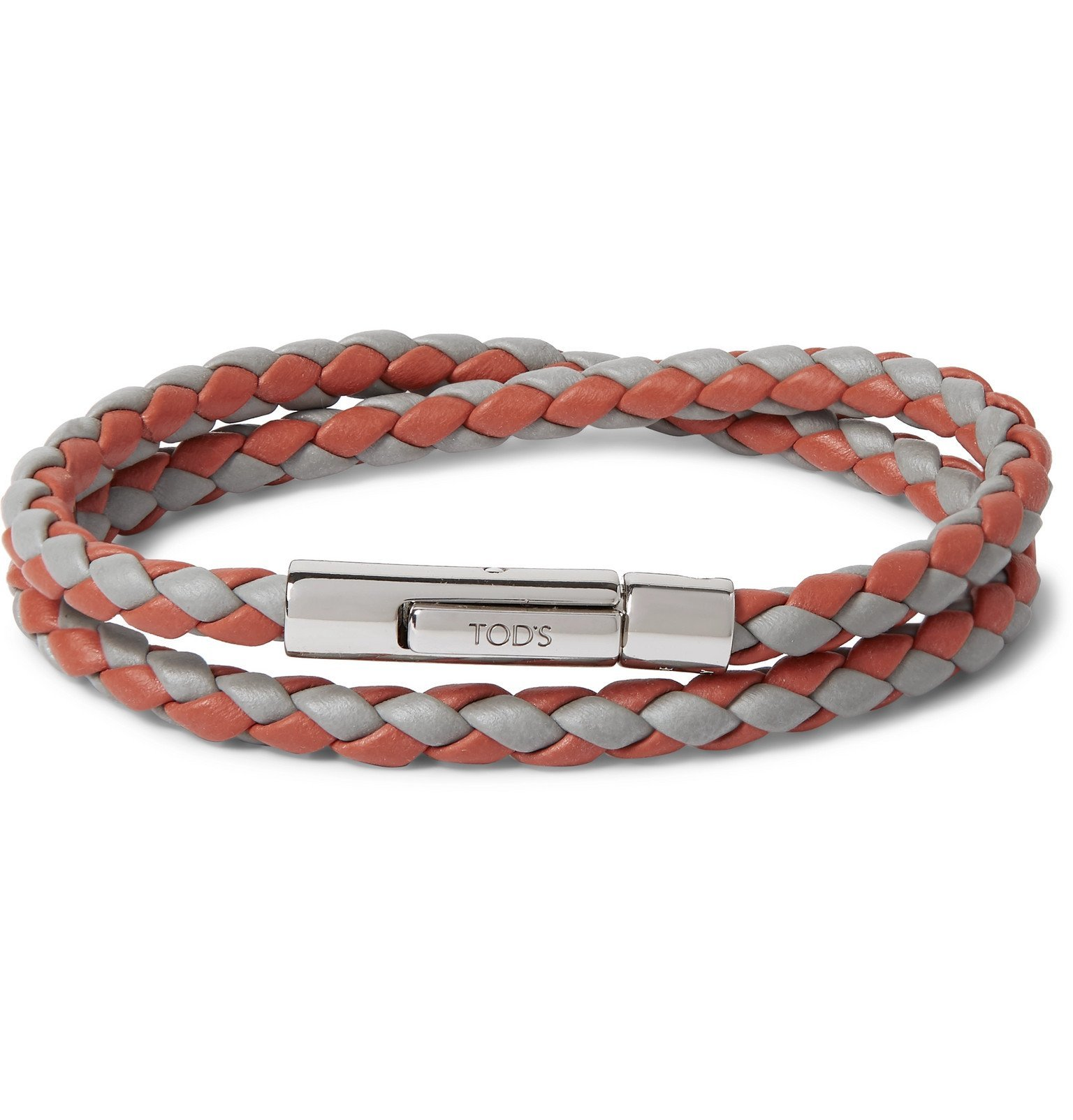 Tod's - Woven Leather and Silver-Tone Bracelet - Orange