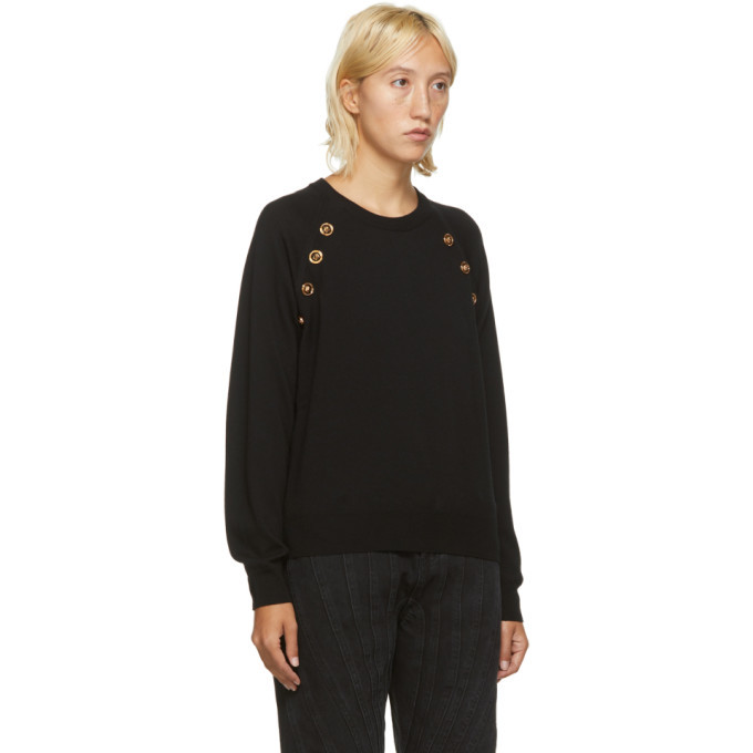 Versace Black Wool Button Sweater