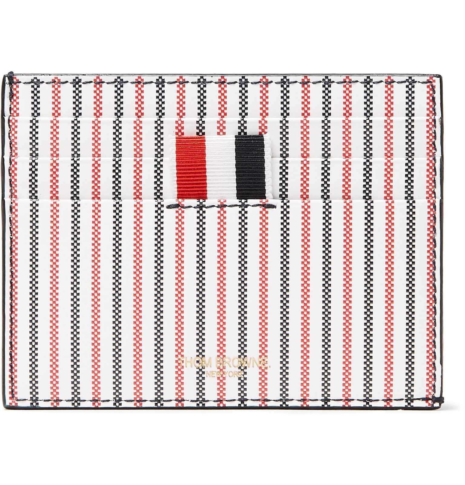 Photo: Thom Browne - Striped Grosgrain-Trimmed Coated-Leather Cardholder - Red