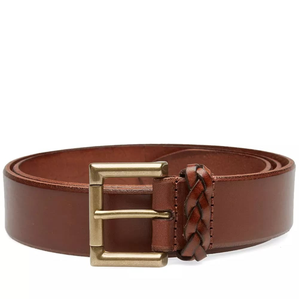 Photo: Anderson's Burnished Leather Woven Trim Belt Tan