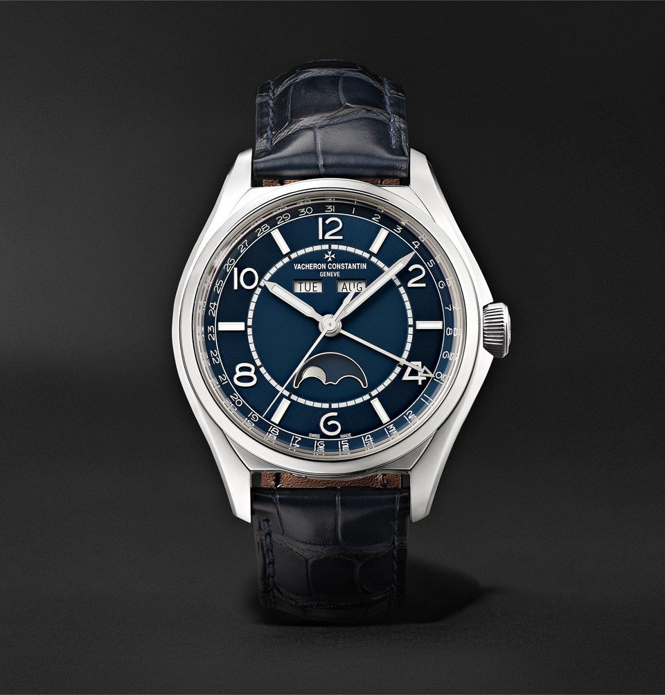 Photo: Vacheron Constantin - Fiftysix Automatic Complete Calendar 40mm Stainless Steel and Alligator Watch, Ref. No. 4000E/000A-B548 - Navy