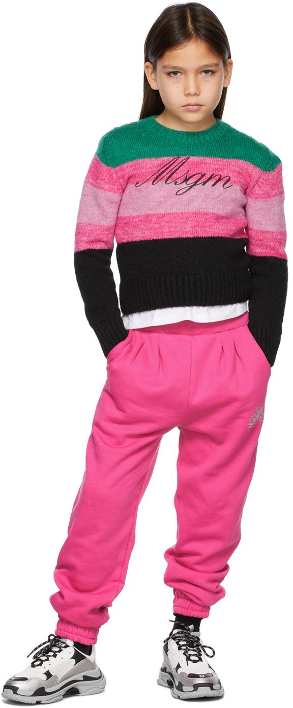 Photo: MSGM Kids Kids Pink & Green Striped Logo Sweater