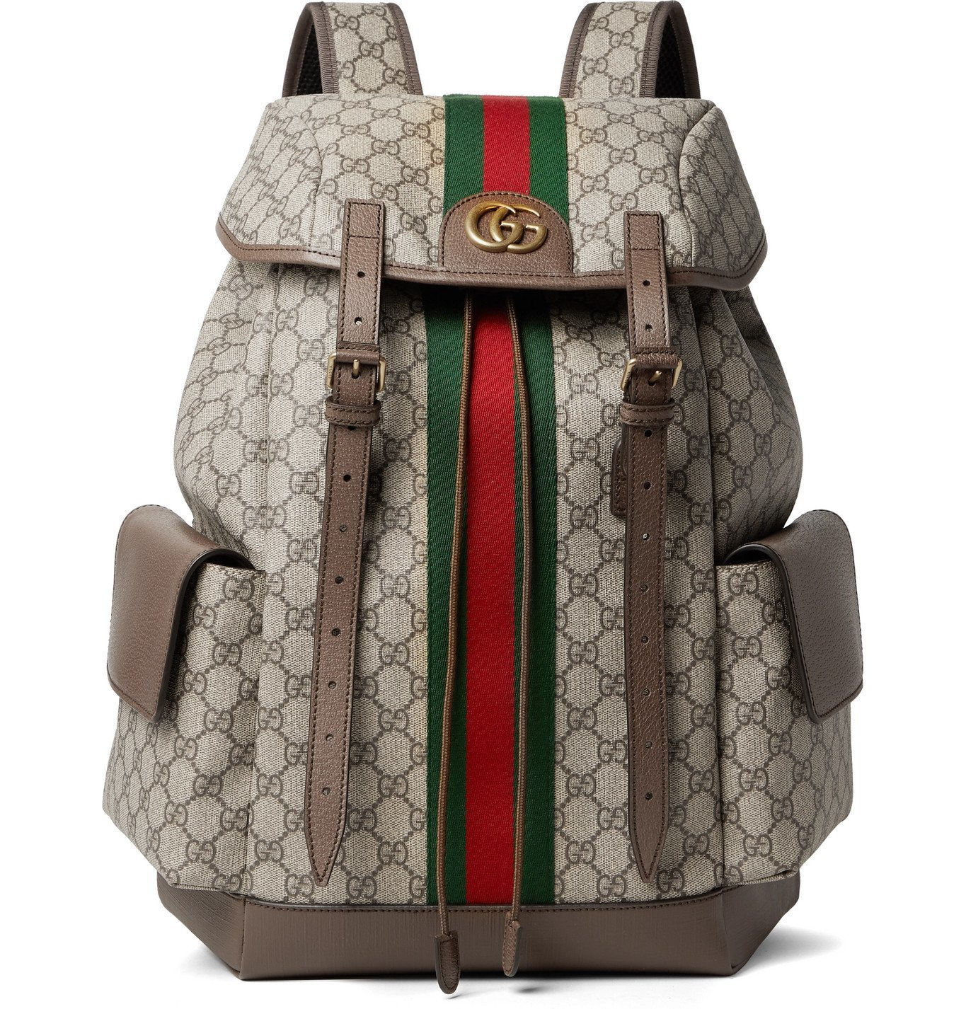 Photo: Gucci - Ophidia Leather and Webbing-Trimmed Monogrammed Coated-Canvas Backpack - Brown