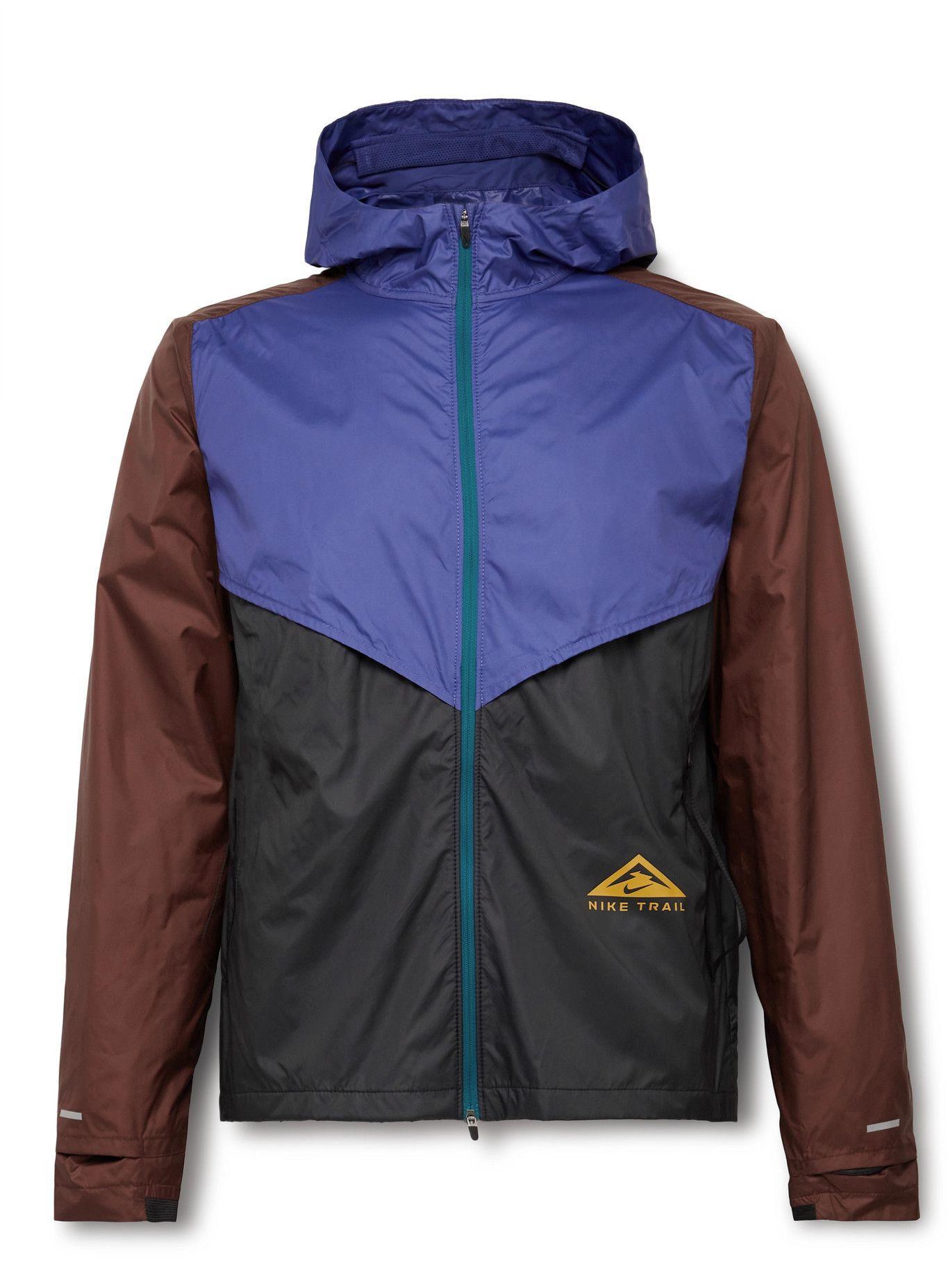 Photo: NIKE RUNNING - Windrunner Colour-Block Shield Hooded Jacket - Purple