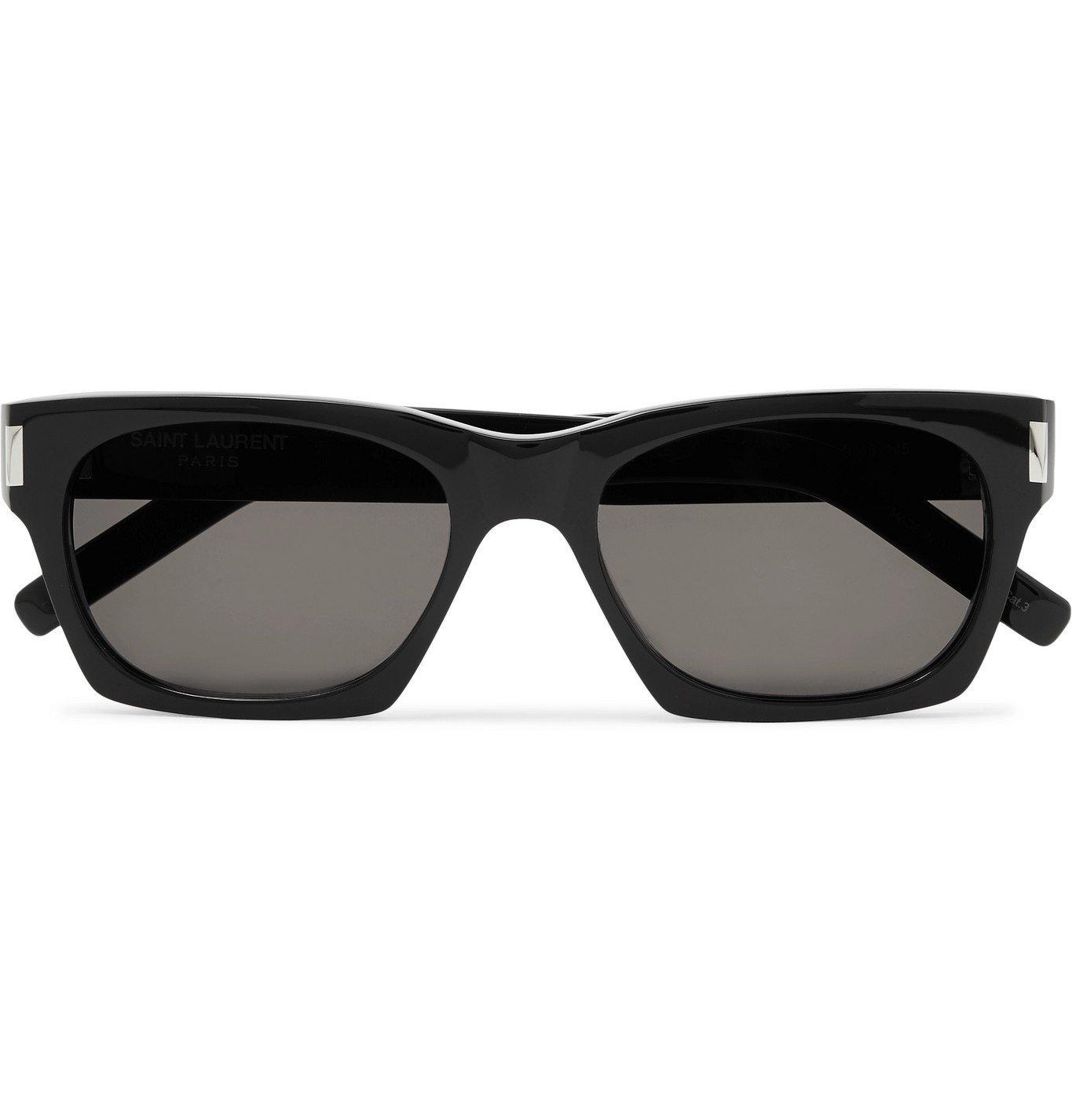 SAINT LAURENT - Square-Frame Acetate and Silver-Tone Sunglasses - Black