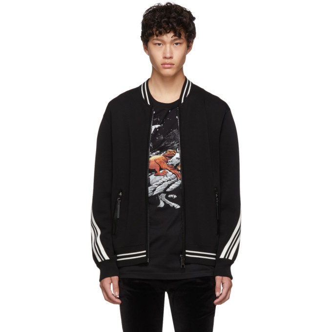 Photo: Neil Barrett Black Wool Varisty Zip-Up Bomber Jacket