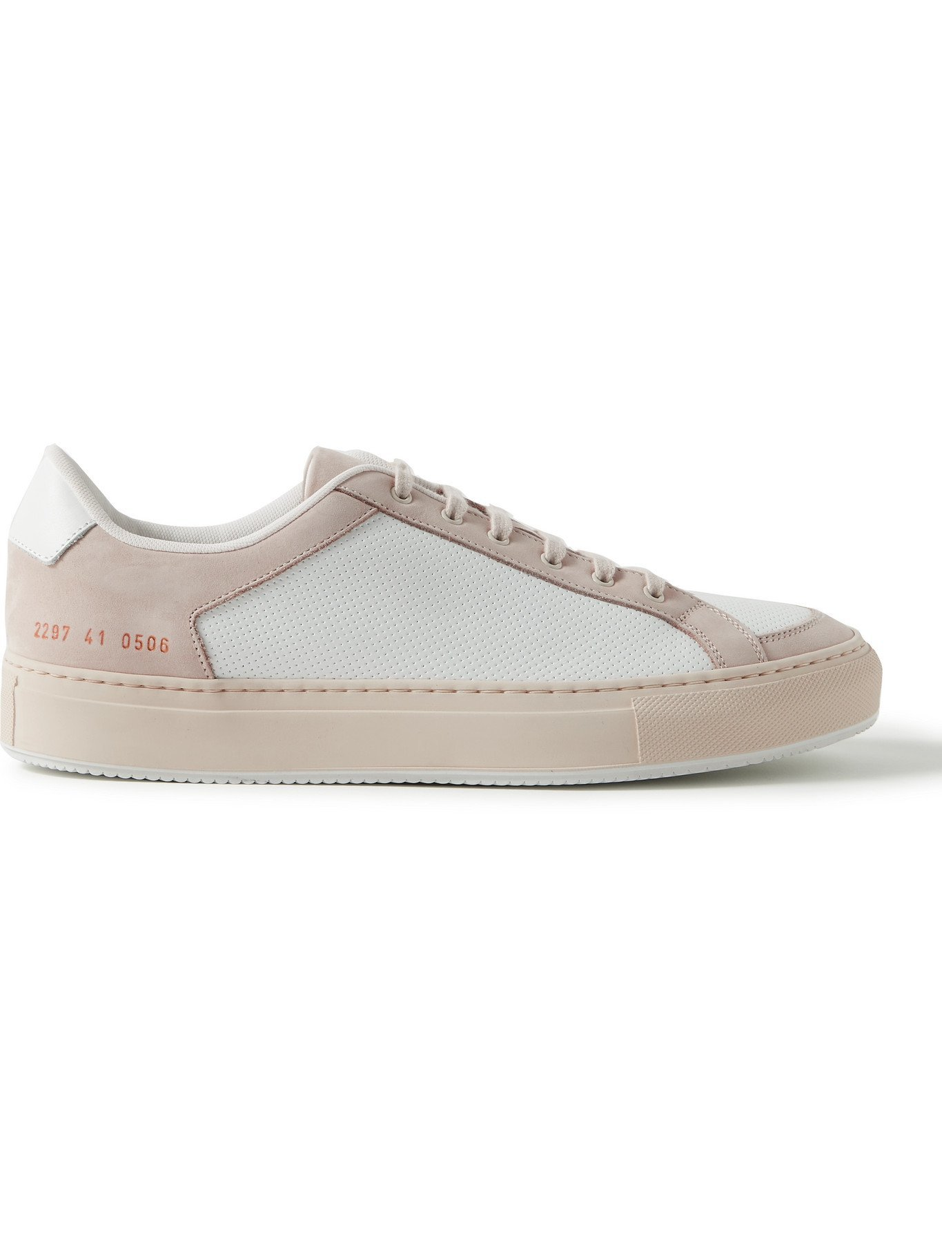 Photo: COMMON PROJECTS - Retro '70s Nubuck-Trimmed Perforated Leather Sneakers - White