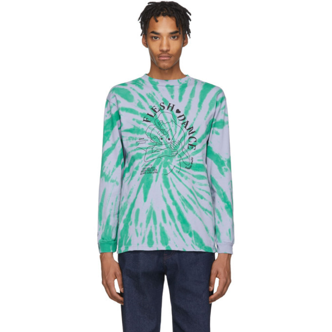 Photo: Carne Bollente Purple and Green Tie-Dye Flesh Dance Long Sleeve T-Shirt