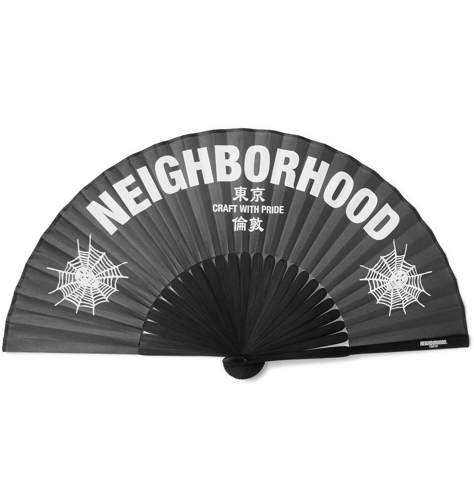 Photo: Neighborhood - Printed Paper and Bamboo Fan - Black